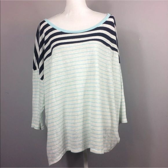 9d6cf0c0931df Lane Bryant Blue White Striped Top Plus Size 26 28